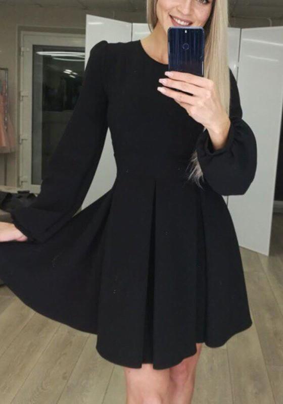 wine-red-plain-pleated-lantern-sleeve-fashion-mini-dress